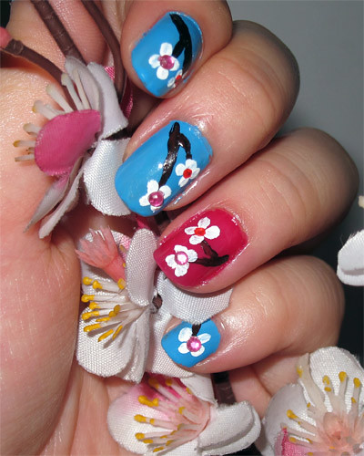 Cherry Blossoms Nail Art Completed
