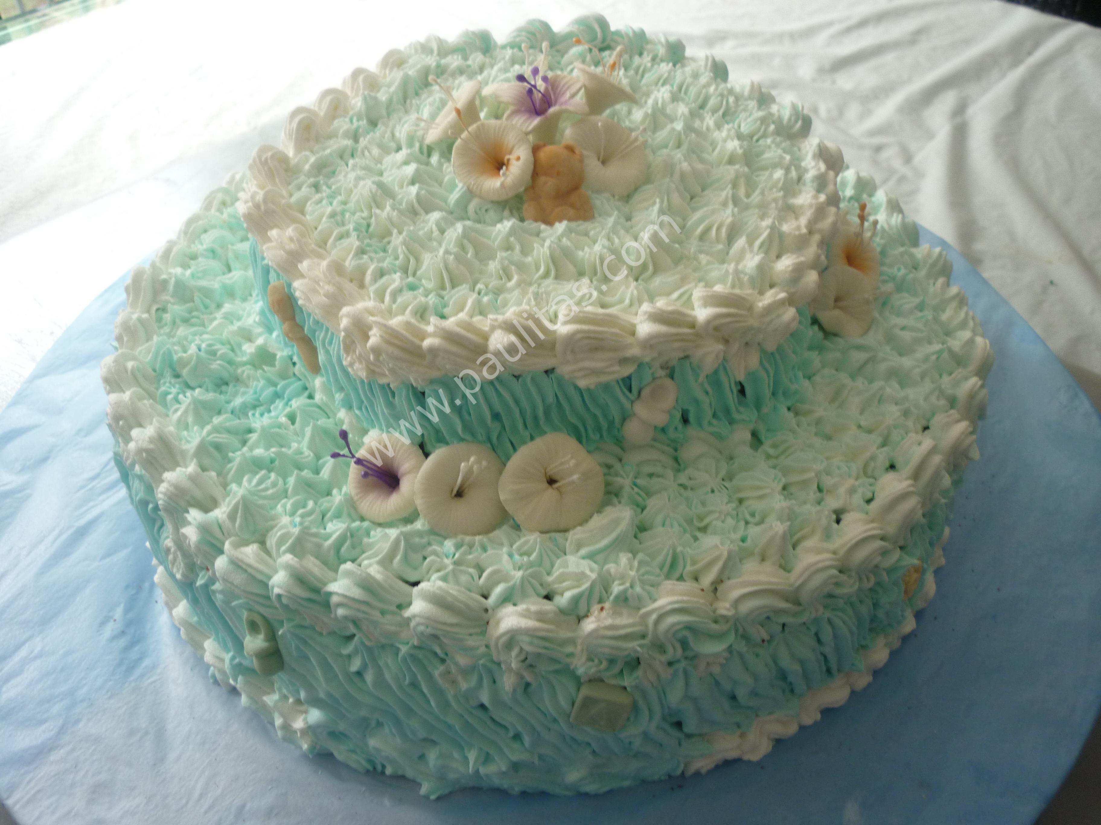Ponque decorado en crema con colores pasteles para bautizo 001 ...