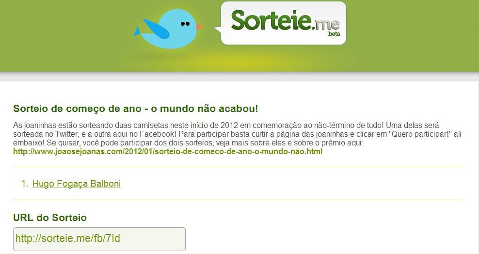 Sorteio - Facebook