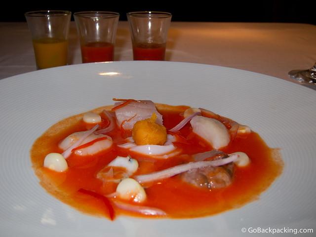 Cebiche (fish, scallop, octopus, sea snail) with ojo de tigre, and 3 shots of peper sauce
