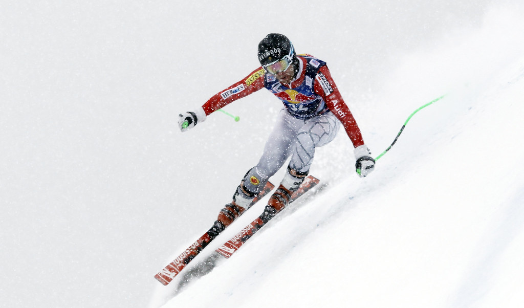 Robbie Dixon races the downhill in n Kitzbühel, Austria.
