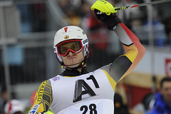 Brad Spence celebrates his strong finish in Kitzbühel, Austria.