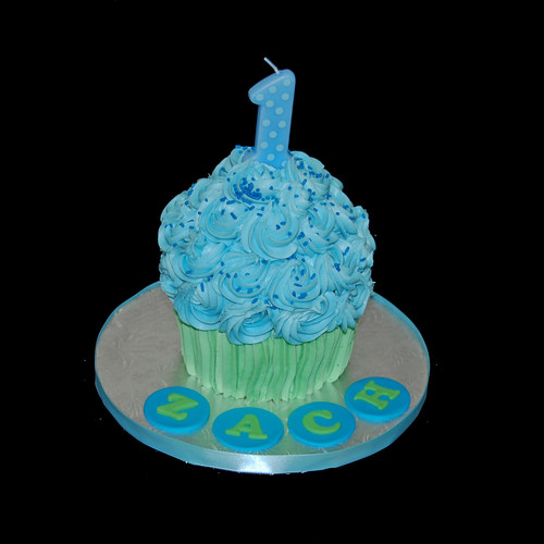 giant cupcake cake first birthday smash cake blue and green