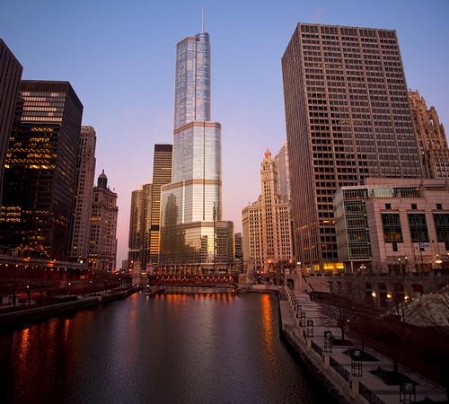 urban chicago reflection art architecture night photoshop sunrise nikon colorful downtown skyscrapers il clear trumptower wrigleybuilding chicagoriver vividcolors chicagoil windycity d90 nikond90 bryanjaronik
