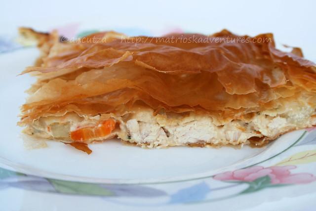 ricetta con foto torta di pasta phyllo con pollo e verdure