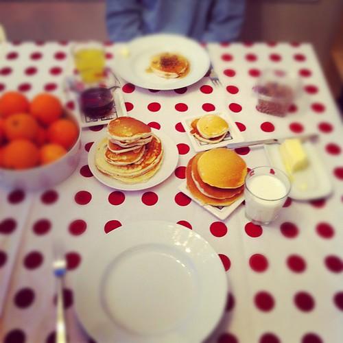 pancakes and snow