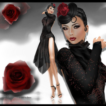 COLLECTION MOREA STYLE FORMAL * CORINA Black & Red*, 625 lindens by Cherokeeh Asteria