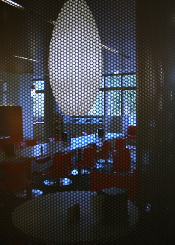 Microsoft Cafeteria, through a screen, Microsoft Campus, Redmond, Washington, USA by Wonderlane
