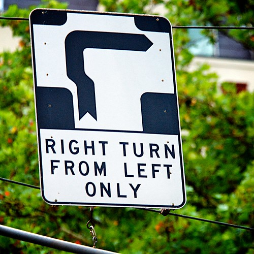RIGHT TURN FROM LEFT ONLY