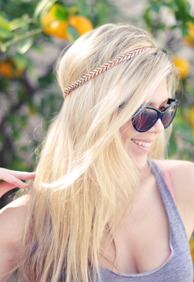 diy rose gold necklace headband - hair tutorials