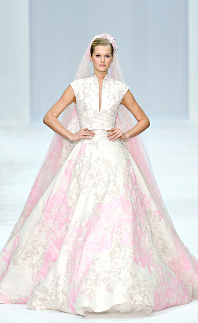 Elie Saab pink and white wedding gown-Spring Couture 2012