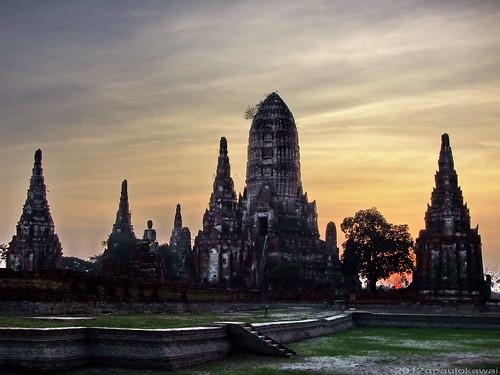 sunset pordosol thailand temple tramonto tailandia thai ayuthaya wat thailandia thailande ayuttaya 2554 watchaiwatanaram