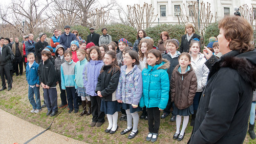 "3rd Grade Class of the Jewish Primary Day School of the Nation's Capitol sing ""the Almond Tree is Blossoming"" to the attendees, during the Celebration of Tu B'Shevat ""The New Year of the Trees"" event, at the District of Columbia western lawn next to the USDA Headquarters, Whitten Building at 14th Street and Independence Ave SW, Washington, D.C. on Wednesday, February 8, 2012. USDA Photo by Lance Cheung."