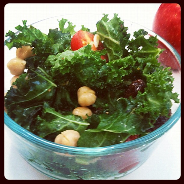 Raw Kale Salad - lunch on day 4 of 10 of the Fruit and Vegetable Cleanse