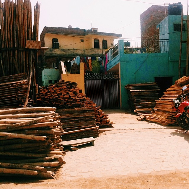 The ladder district en route to the furniture district #organized #india #lovebrightbluepaint #vscocam