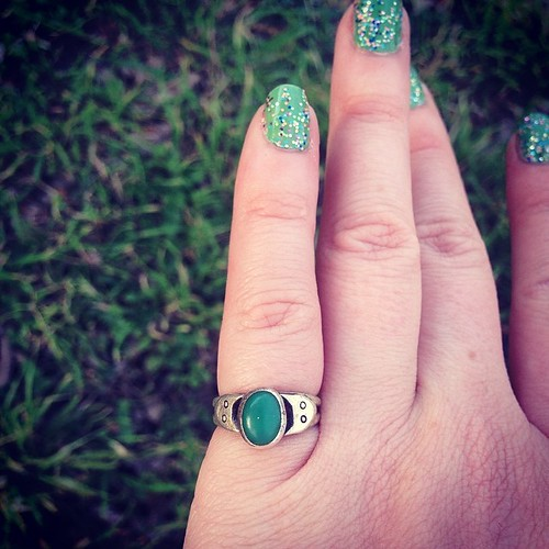 So many miracles great & small are occurring lately... Today I found the first ring I ever made, lost years ago! Chrysoprase with silver kitty heads. It was laying in the dirt, perhaps formerly obscured by a rain barrel. I had just assumed it was home for