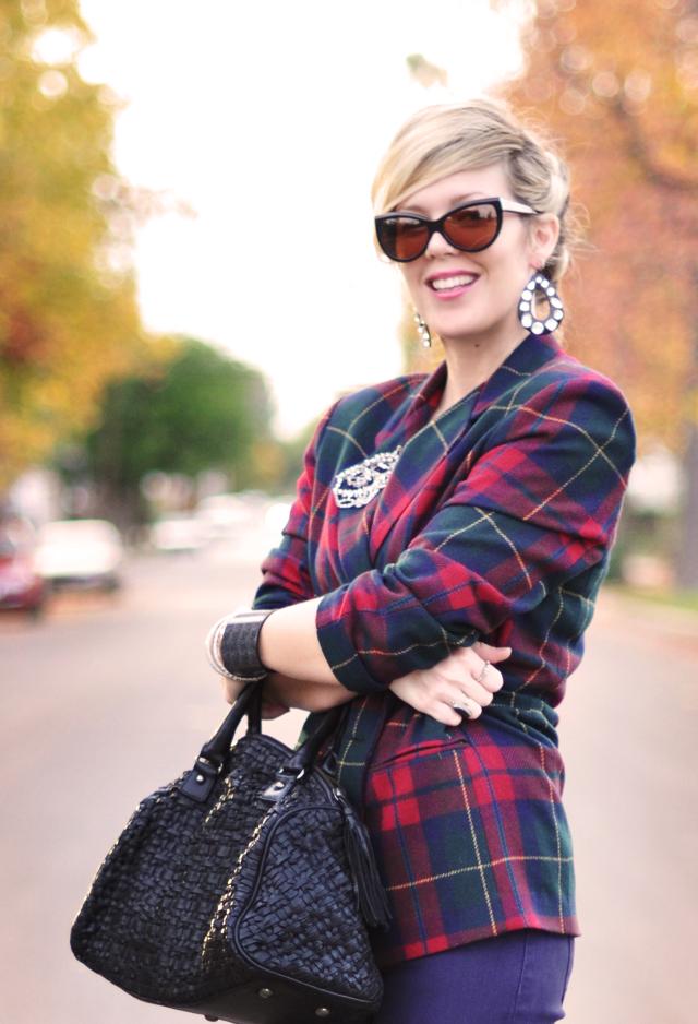plaid blazer-tom ford cat eye sunglasses-rhinestone accessories
