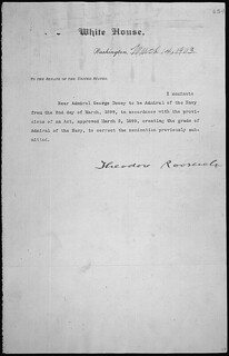 Message of President Theodore Roosevelt nominating George Dewey to be Admiral of the Navy, 03/14/1903