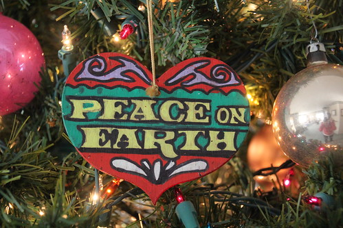 Wooden Peace on Earth Ornament