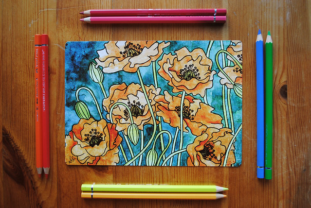 poppies w pencil frame