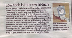 Little Printer in the Evening Standard - 01-12-2011