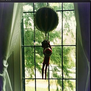 Up, up and away. #elfontheshelf #elfonashelf