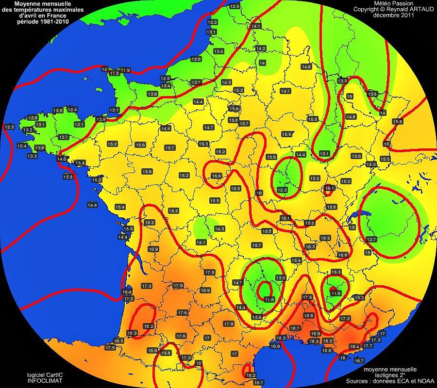 Moyennes mensuelles des températures maximales pour le mois d'avril en France sur la période 1981-2010