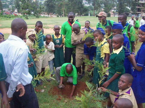 Scout Leader of Uganda Martyrs School planting tree at the school, Mbarara, Uganda 2011