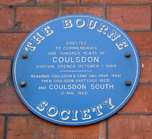 Blue plaque № 7578 - Erected to commemorate one hundred years of Coulsdon Station, opened October 1 1889 renamed Coulsdon & Cane Hill (Mar. 1896) then Coulsdon East (July 1923) and Coulsdon South (1 Aug. 1923)