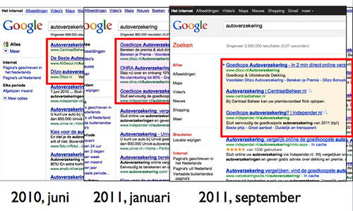 Google.nl serp - september 2011