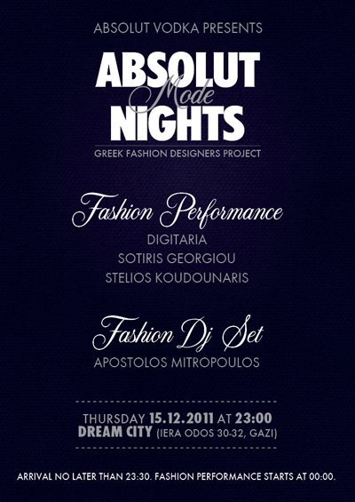 ABSOLUT MODE NIGHTS INVITATION