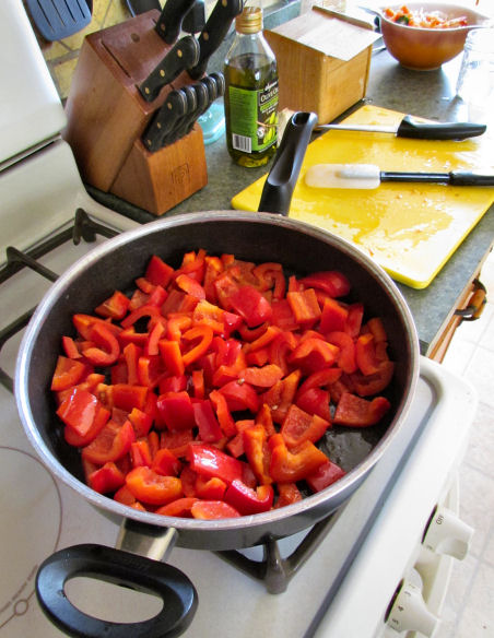 Saute Red Peppers Until Soft