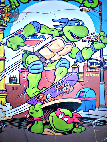 "ROSE ART :: 'TEENAGE MUTANT NINJA TURTLES' - ""Skate Board"" FRAME-TRAY Puzzle iii (( 1993 ))"