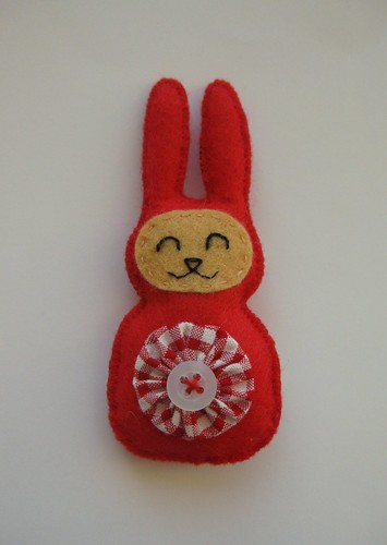 Red Bunny Brooch by ONE by one