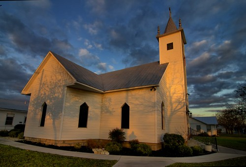 sunset church clouds texas dusk fisheye hillcountry harper whitechurch hillcountrytexas harpertexas orangechurch