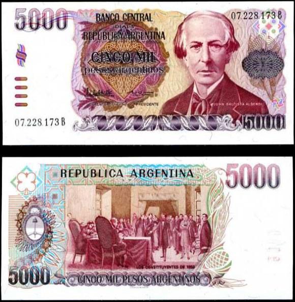 5000 Pesos Argentinos Argentína 1984-85, Pick 318