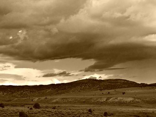 morning sky sepia clouds rural utah