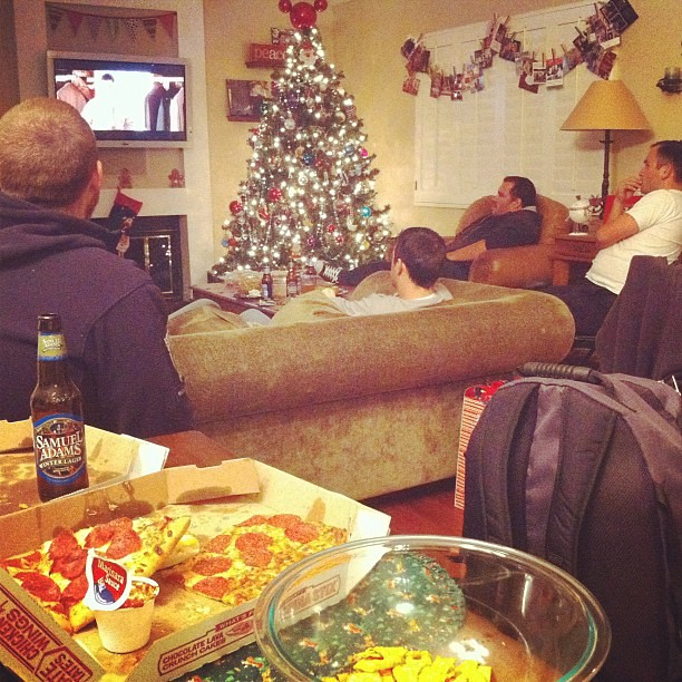 Christmas Eve at The Angry House: Husband's 38th Birthday, 7 men, 2 kids, 2 dogs, me....beer, pizza, chips, cake and Biloxi Blues.