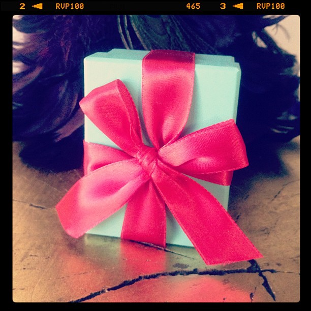 Tiffany box w/ a ted bow from the husband. The first photo I took with my now iPhone this morning.