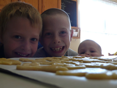 Sparky, Max and Billy, cutting out sugar cookies