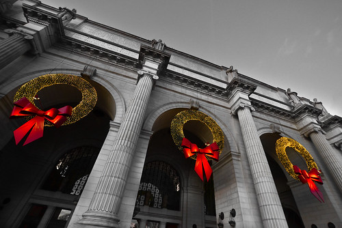 Big Christmas Wreath in Washington,D.C. Union Station