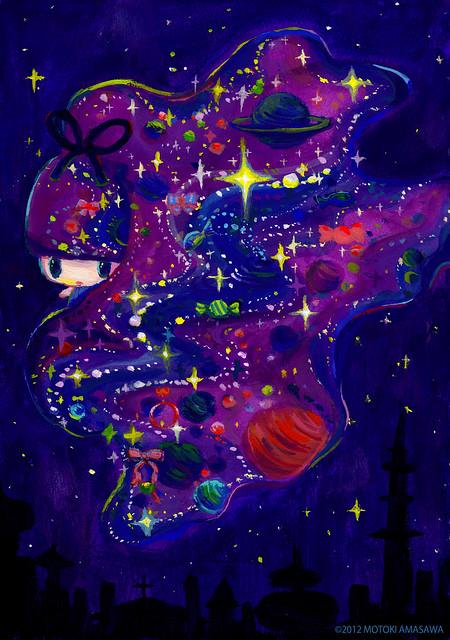 一枚絵29_夜空の宇宙髪