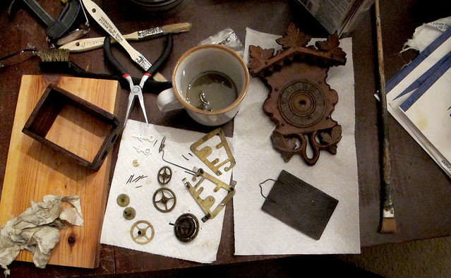 maggie's clock disassembled.