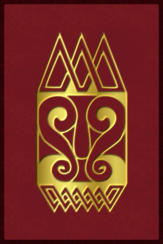 Design used for a rubber stamp: a kingly face in a celtic knotwork style