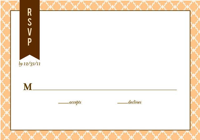 Ombre Chevron Wedding Response Card