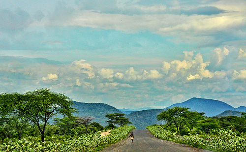 road sky people cloud mountain tree nature scenery view walker keyafarethiopia