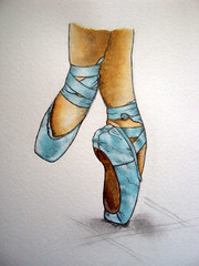 The blue ballet shoes.(SOLD)