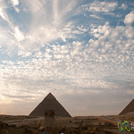 Great Sphinx and Giza Pyramids at Sunset - Egypt