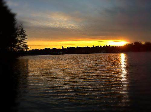 Sunset at lake noon