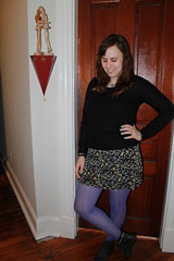 Purple outfit: purple tights, studded ankle boots, '90s mini skirt, cashmere sweater, grape necklace